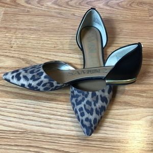 Sam & Libby D'Orsay Cheetah Pointy Toe Flats 7.5
